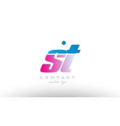 st s t alphabet letter combination pink blue bold vector image vector image