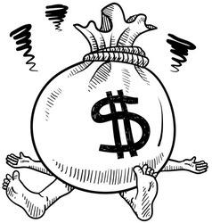 doodle squish money bag vector image vector image