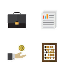 flat exchequer set of hand with coin counter vector image vector image