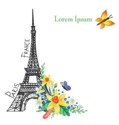 Paris spring cardEiffel towerWatercolor flowers vector image