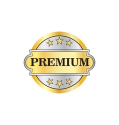 Premium golden label icon in flat style vector image