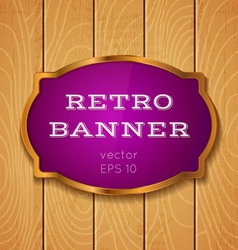 purple banner on wooden background vector image vector image