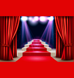 showroom with red carpet leading to a podium and vector image
