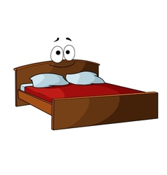 Wooden double bed with bed linen vector image