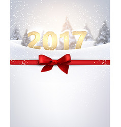 2017 New Year background with ribbon vector