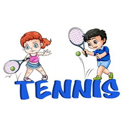 A girl and a boy playing tennis vector image