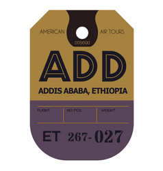 Addis ababa airport luggage tag vector