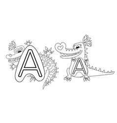 Animal alphabet coloring book for preschool kids vector