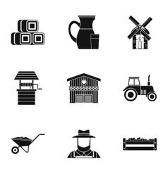 Animal farm icons set simple style vector