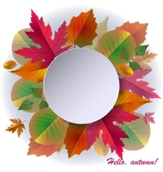 Autumn background with frame and leaves vector