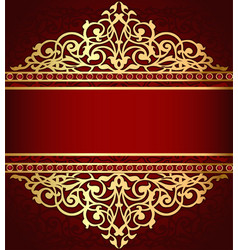Background with golden ornament and red band vector
