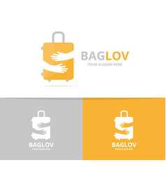 bag and hands logo combination baggage vector image