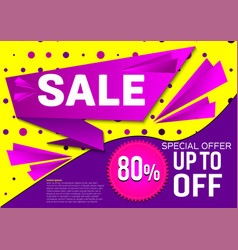 banner sale special offer abstract purple and vector image