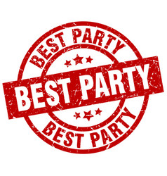 Best party round red grunge stamp vector