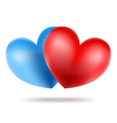 blue and red heart vector image