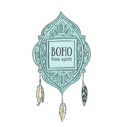 Boho style background blue decorative frame vector