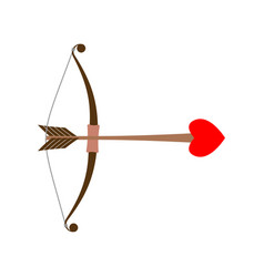 Bow cupid arrow of love with heart for valentines vector