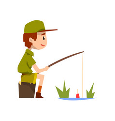 Boy scout character in uniform fishing outdoor vector