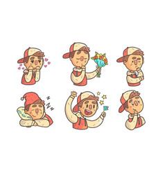 boy wearing cap showing different emotions set vector image
