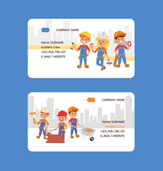 Builder business card constructor people vector