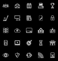 Business management line icons on black background vector