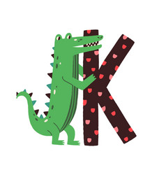 capital letter k childish alphabet with animal vector image