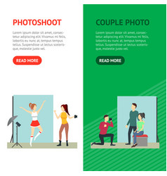 cartoon photo studio banner vecrtical set vector image