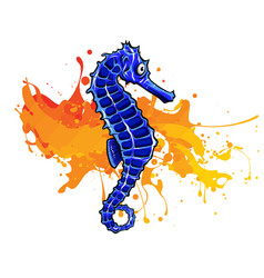cartoon watercolor seahorse isolated on white vector image