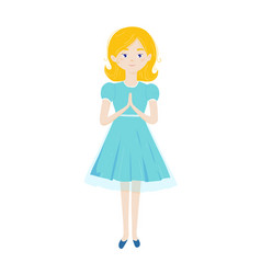Christian girl pray with folded hands in prayer vector