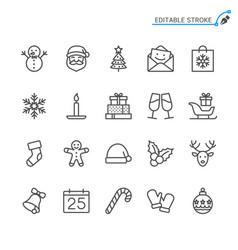 christmas line icons editable stroke vector image