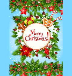 Christmas wreath or new year garland greeting card vector