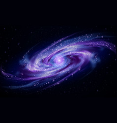 Colorful space galaxy background with shining vector