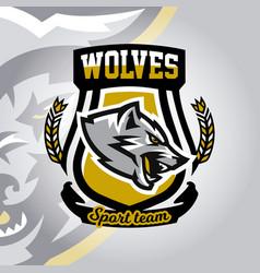 Colourful emblem logo sticker aggressive wolf vector