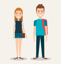 couple of students the guy and the girl on a white vector image