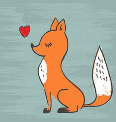 cute fox adorable cartoon vector image