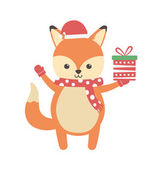 cute fox with gift and scarf merry christmas vector image