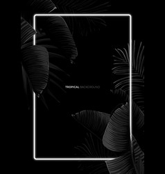 Dark monochrome tropical design with exotic banana vector