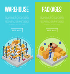delivery packing and warehouse management set vector image