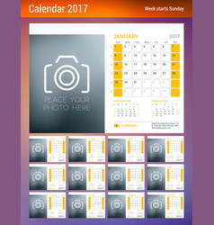 Desk calendar planner template for 2017 year week vector