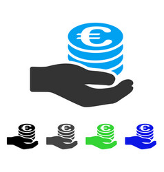 Euro salary flat icon vector