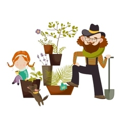 Father and daughter planting in the garden vector image vector image