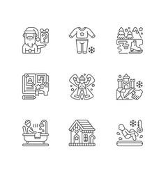 festive season linear icons set vector image