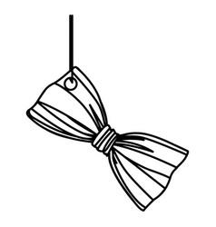 Figure elegant tie bow hanging icon vector