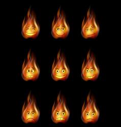 fire smileys set vector image