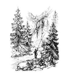 Fisherman fishing in mountains river vector