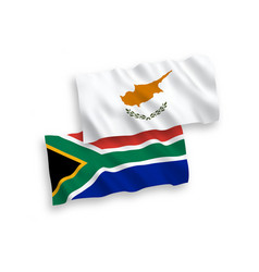 Flags cyprus and republic south africa on a vector
