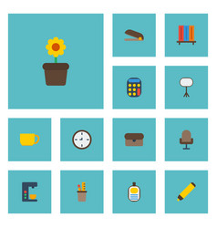 Flat icons watch tea puncher and other vector