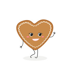 Gingerbread cookie-heart vector