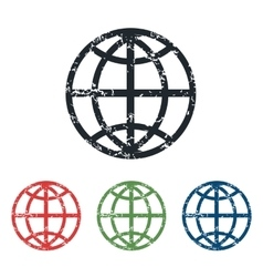 Globe grunge icon set vector