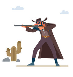 Gold hunter aims his rifle old wild west vector